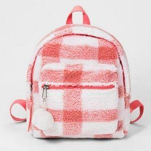Cat & Jack, NWT Girls' Plaid Sherpa Mini Backpack